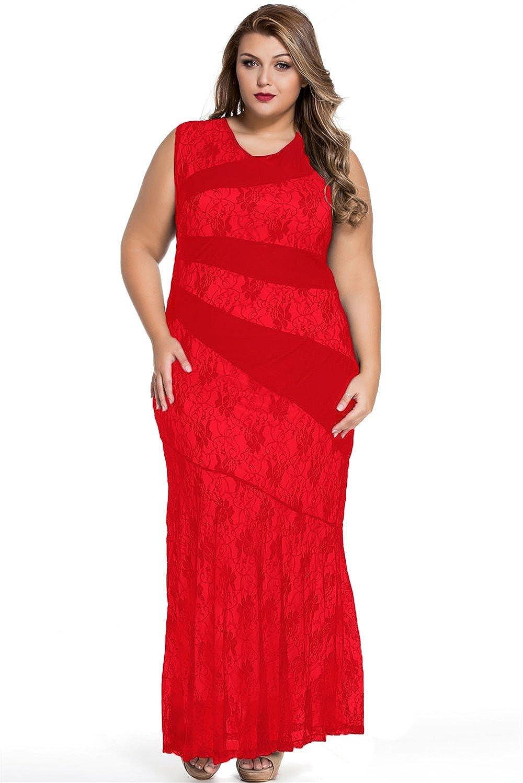 Tammy Style Stylish Lace Splice Plus Size Mermaid Prom Dress: Amazon.co.uk: Clothing