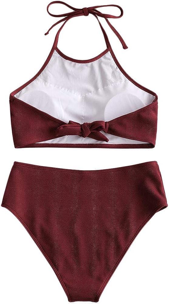 ZAFUL Set Bikini da Donna Imbottito Push up Set Tankini a Vita Alta a Costine Costume da Bagno da Donna Allacciato