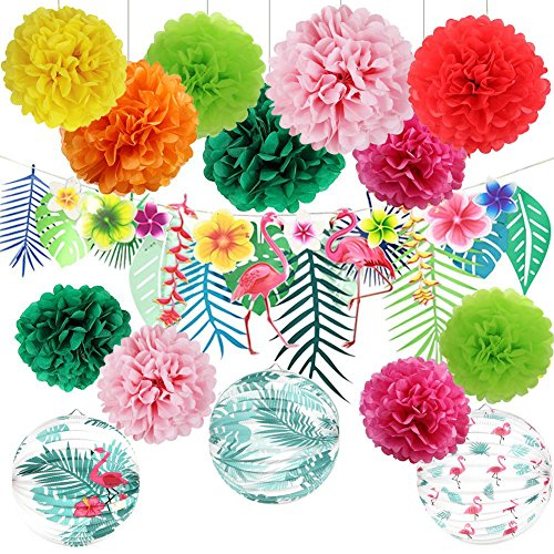Hawaiian Luau Party Decorations Tropical Hibiscus Flowers and Flamingos Banner Large Artificial Tropical Leaves Banner Pink Flamingo Palm Leaf Paper Accordion Lanterns for Summer Party Decorations
