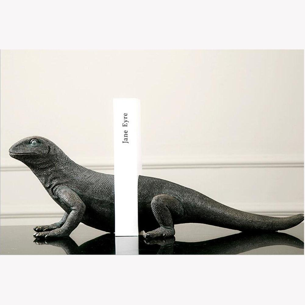 LPY-Bookends Resin lizard Style Handicrafts, Book Ends for Office or Study Room Home Shelf Decorative