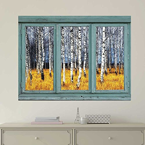 Vintage Teal Window Looking Out Into a an Aspen Tree Forest During Fall Time Wall Mural