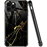 iPhone 12 Case,Black Gold Marble Pattern Anti-Scratch iPhone 12 Cases for Boys Men,Four Corners Desgin Shockproof Cover Compa