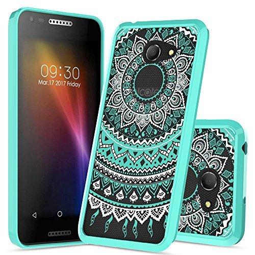 Alcatel A30 Case,Alcatel Zip LTE Case, Alcatel Kora Clear Case with HD Screen Protector,AnoKe Mandala Slim Fit Acrylic Cover TPU Bumper Protective Case for Alcatel A30 Verizon GSM 5.0 Inch CH Mint