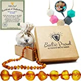 Amber Teething Necklace for Babies Gift Set (Unisex) + Silicone Teething Necklace - Anti Inflammatory, Natural Drooling and Teething Pain Relief, Highest Quality, Authentic Baltic Jewelry (Honey Raw)