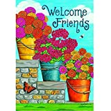 "Cheap ""Flower Bucket – Welcome Friends"" – Summer – STANDARD Size, 28 Inch X 40 Inch, Decorative Double Sided Flag"