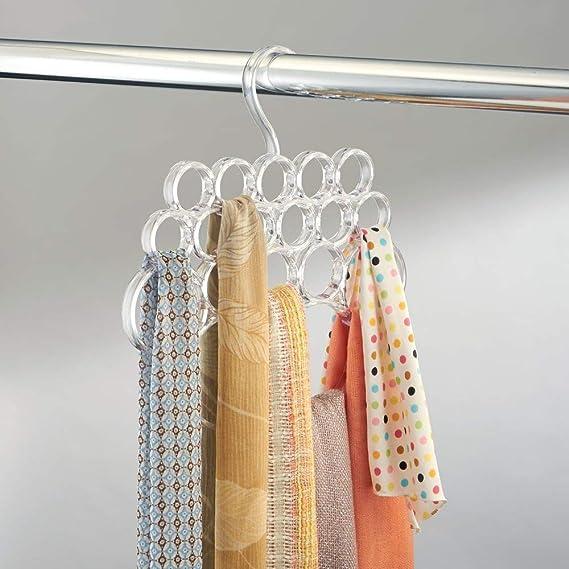 mDesign Percha para pañuelos – Colgador de pañuelos, chales, Bufandas y complementos - Organizador de armarios para Accesorios con 18 prácticos Aros - ...