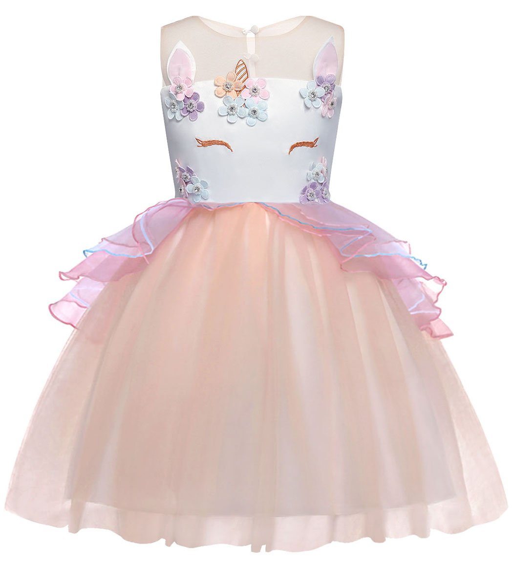 Cotrio Baby Girls Unicorn Costume Dress Pageant Party Dresses Flower Evening Gowns Tutu Dress Size 6 (5-6Yrs, Pink)