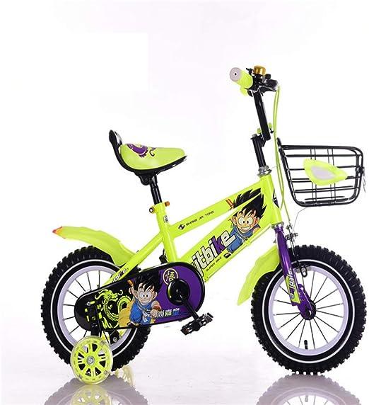 XiangYu Bicicleta para Niños, Material de Acero de Alto Carbono, Sistema de Freno de Disco Doble, Manillar y Silla de Montar Ajustables + Rueda Auxiliar Antideslizante + Cesta Yellow-16inch: Amazon.es: Deportes y
