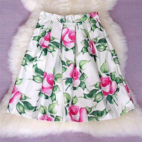 YSJ Lady's Midi Skirt - A-Line Pleated High Waist Vintage