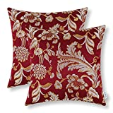 Pack of 2, CaliTime Throw Pillow Covers Cases for Couch Sofa Home Decor, Vintage Floral Leaves, 18 X 18 Inches, Burgundy