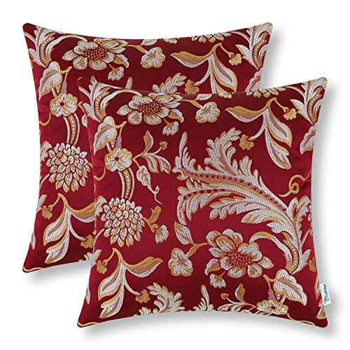 Pack of 2 CaliTime Throw Pillow Covers Cases for Couch Sofa Home Decor, Vintage Floral Leaves, 18 X 18 Inches, Burgundy (Accent Gold Pillows Red And)