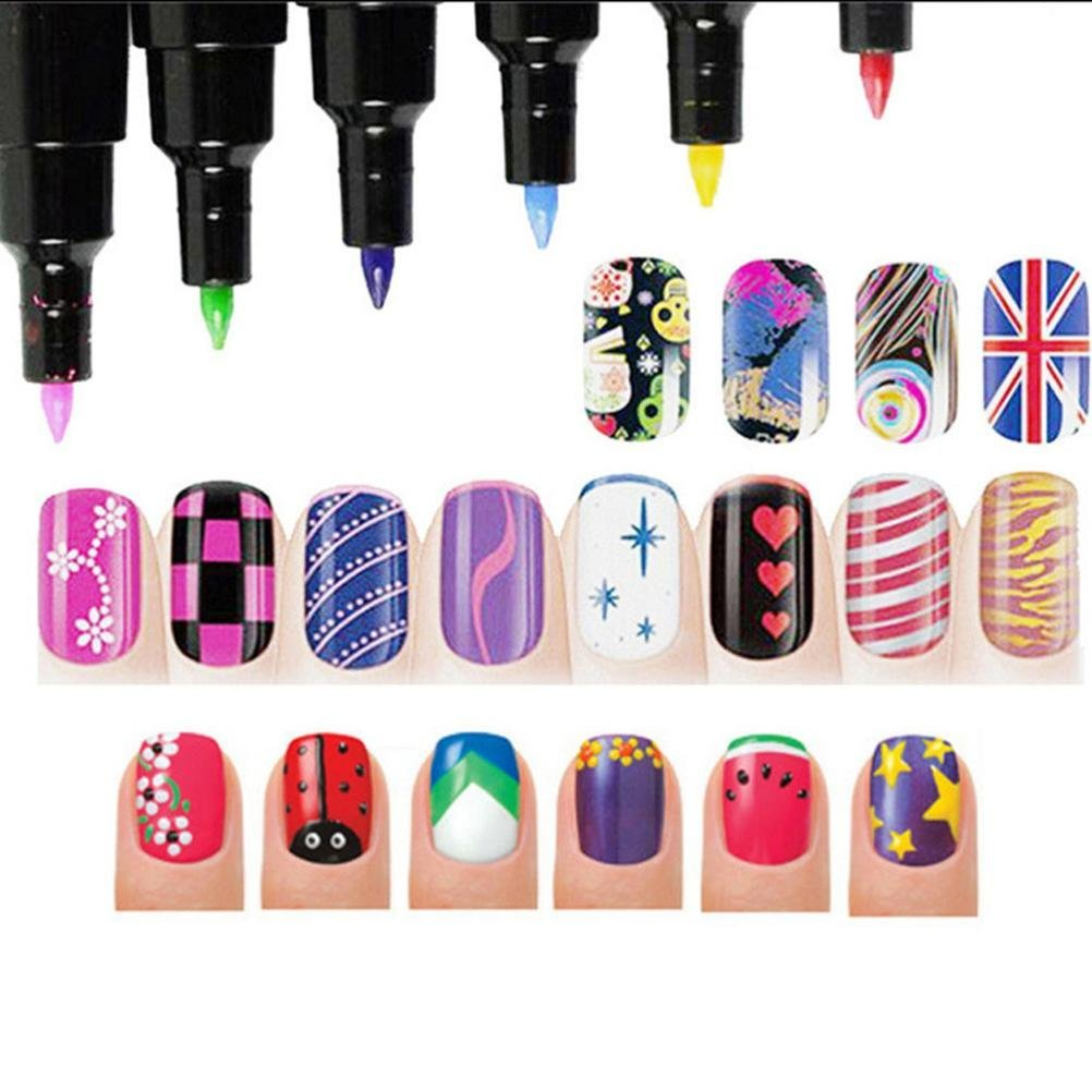 Amazon.com : 16 Colors Set Nail Art Pen for 3D Nail Art DIY ...