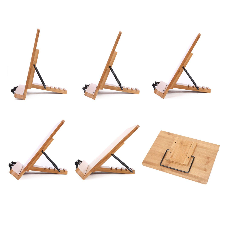 con supporto pieghevole e retro regolabile Flat in bamb/ù Uniquebella Supporto da lettura per tablet