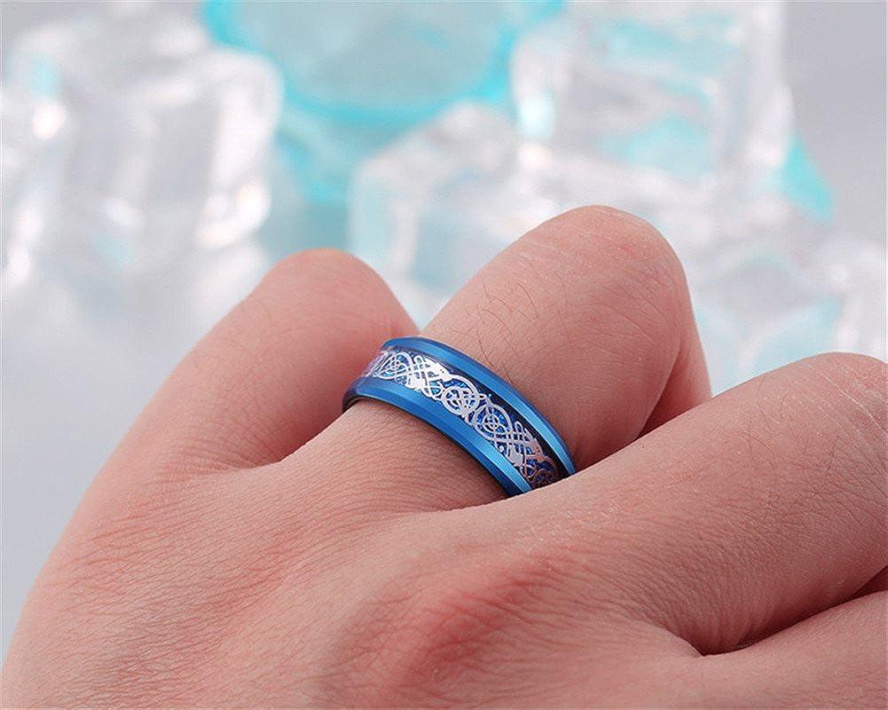 HIJONES Men\'s Stainless Steel Celtic Dragon Ring with Carbon Fiber ...