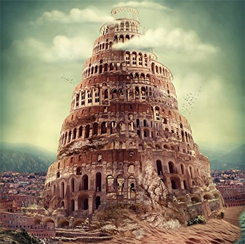 LFEEY 10x10ft Ancient Tower of Babel Photo Backdrop Fantasy Fairy Tale Old Babylon Skyscraper Religious Architecture Historic Building Castle Background Photo Studio Props