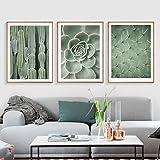 JTM Planta Verde Pared Arte Decoracion Nordica Lienzo Pintura Póster Cactus pósters y gravures Pared cámara para el salón sin Marco, Lona, Verde, 30 x 40 cm
