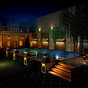 YINUO LIGHT Outdoor Party LED Projector Light Moving Waterproof Landscape Holiday Spotlight Indoor Decoration For Christmas Halloween Party, Disco Dj, Wedding Show, Birthday, Stage(Red-Green Star)