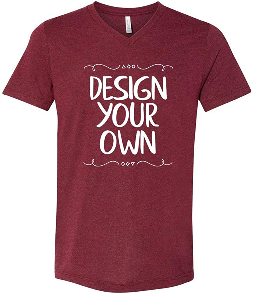 Bella + Canvas - Unisex Triblend Short Sleeve V-Neck Tee, Custom Design Your Own