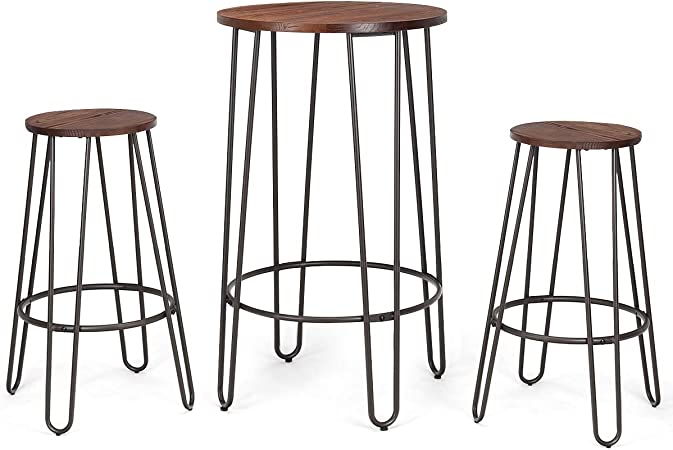 3 Piece Bistro Pub Set Round Table Counter Height Stools Wood Metal Furniture