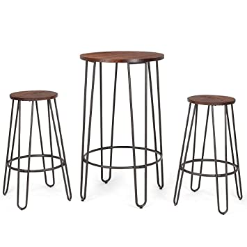 Awesome Costway 3 Pieces Bar Table Set With 2 Stools Round Height Steel Pub Dining Bistro Table Set Coffee Pabps2019 Chair Design Images Pabps2019Com