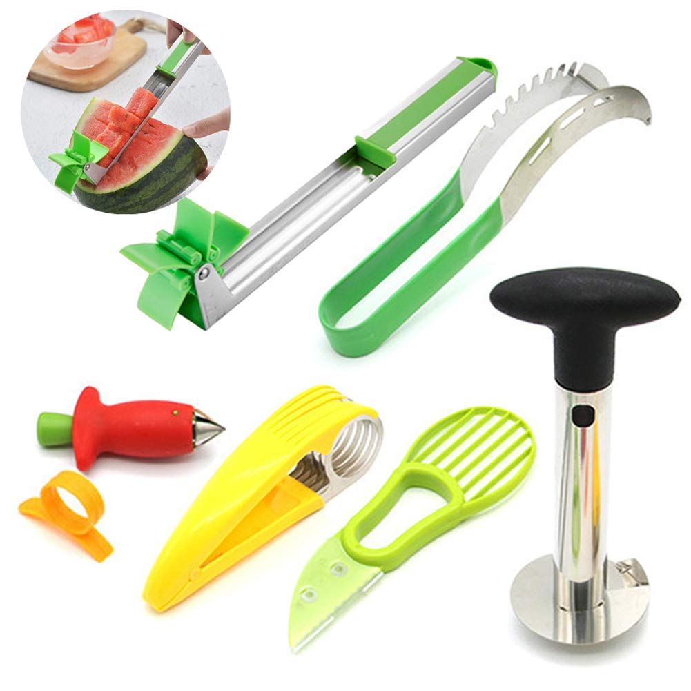 Fruit Tool Set Stainless Steel Rolling Watermelon Cutter Slicer Pineapple Corer Orange Peeler Strawberry Huller 7 Pack by Nenalayo