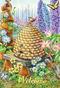 Toland Home Garden Welcome Bee Hive Birdies 12.5 x 18-Inch Decorative USA-Produced Garden Flag