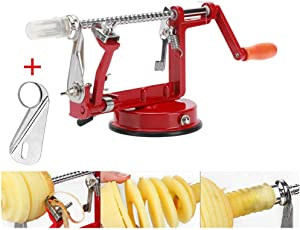 Apple peeler, Apple Peeler and Corer with Suction Base 3 in 1 Slinky Machine Durable Heavy Duty Die Apple Peelers Made In USA (Red)