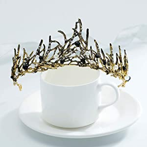 Abien Baroque Vintage Gold Crowns and Tiaras Crystal Bridal Queen Tiara Pearl Bride Wedding Headpieces Hair Acessories for Women and Girls