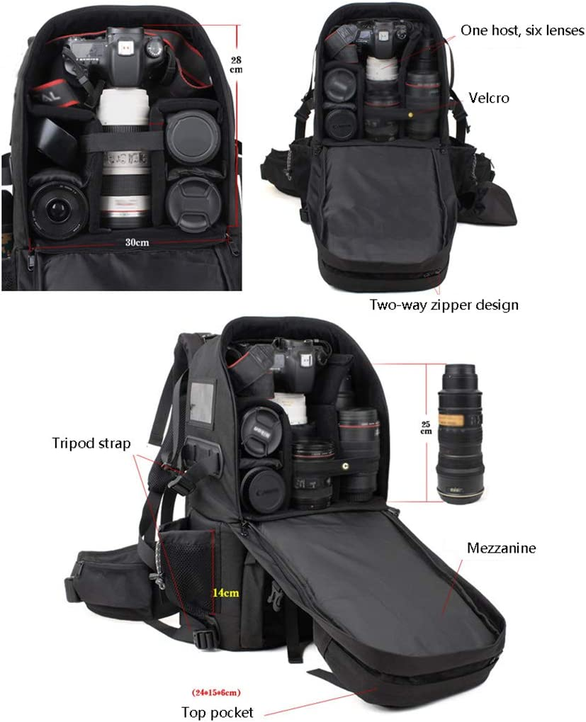 SHZJZ-BP Professional Shoulder Camera Bag Genuine Waterproof Shockproof Anti-Theft SLR Camera Bag Take It on A Long Journey