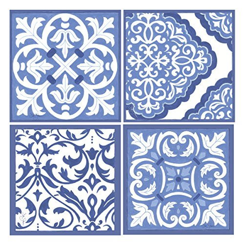 Thirstystone Stoneware Coaster Set, Blue and White Scrollwork