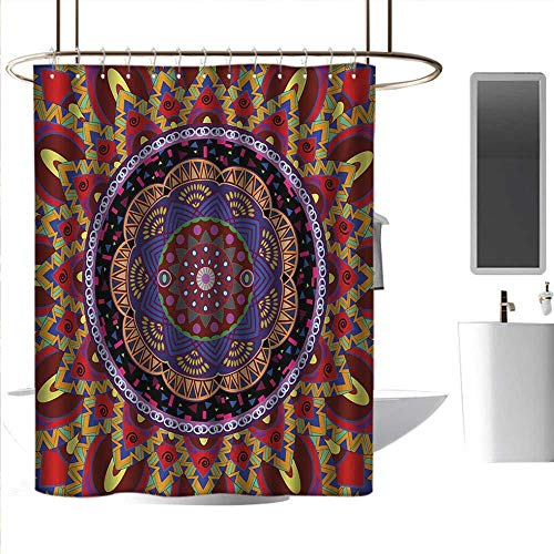 J Chief Sky Custom Shower Curtains Mandala,Vintage Style Wedding Invitation Card with Mandala Motif Flower Illustration,Maroon and Red 3D Printing Bath Curtain W48 x L72 Inch ()