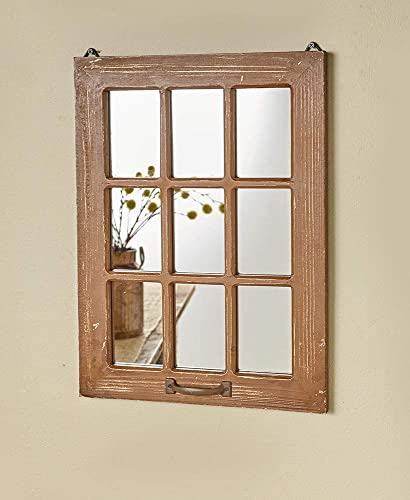 The Lakeside Collection Distressed Wood Windowpane Mirror – Rustic Home Decoration – Natural
