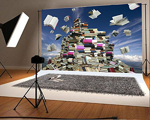 Leyiyi 8x6ft Photography Background Graduation Celebration Backdrop Welcome to Collage Magic Books Bookmountain Opened Flying Cheer Up New Bachelor Back School Party Photo Portrait Vinyl Studio Prop