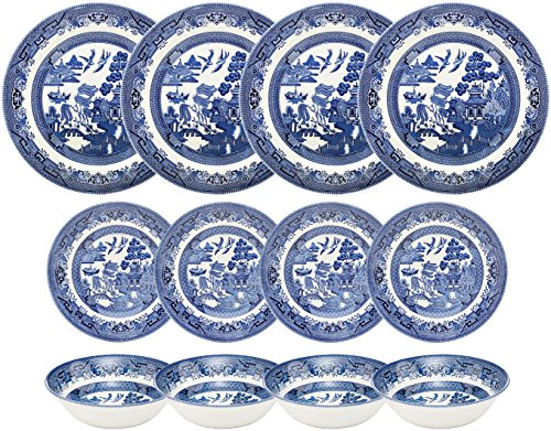 - Churchill Blue Willow 12 Piece Dinner Set