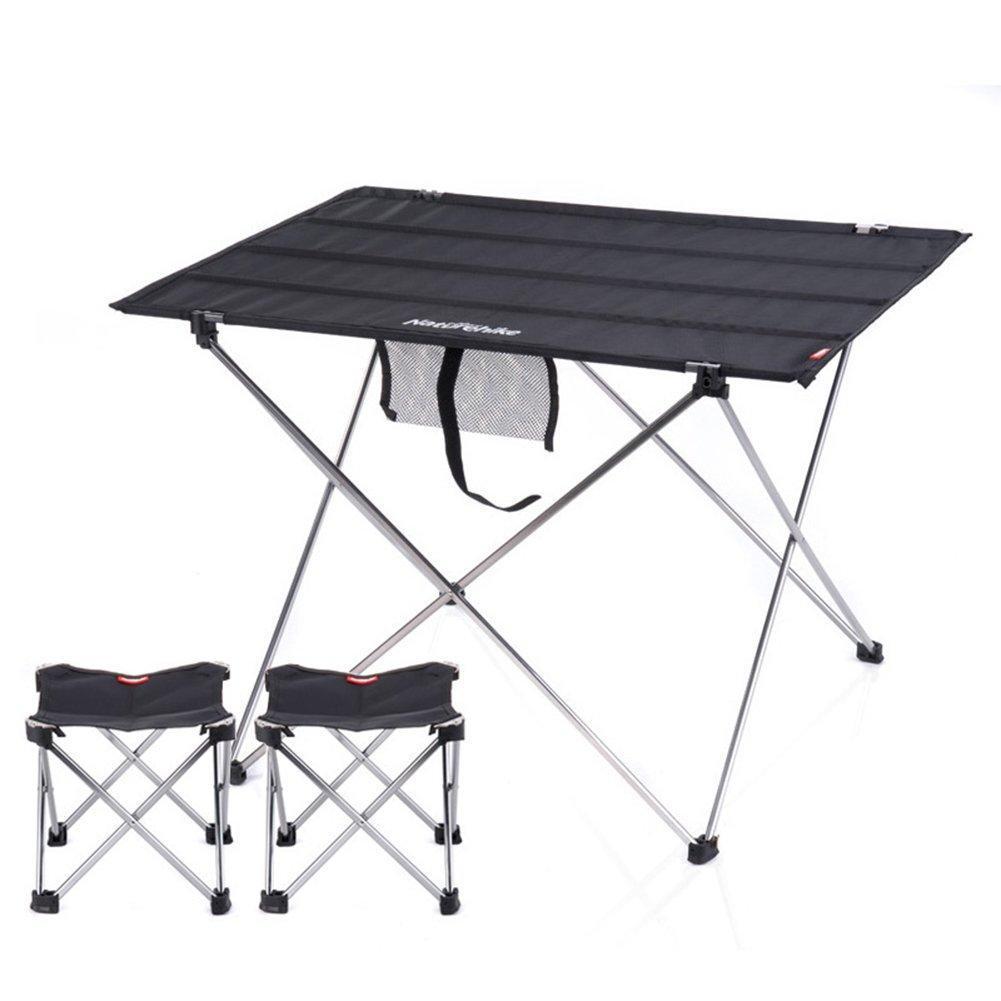 QIANGDA 屋外/アウトドア 折りたたみ テーブル椅子 3セット 柔軟で便利な 安定した耐久性 アルミニウム合金 ポータブル、 M/L オプション (色 : ブラック, サイズ さいず : L l) B07CTMS5CL L l|ブラック ブラック L l