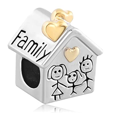 4d9000f97 Amazon.com: Fit Pandora Charms Silver Plated Family Heart Love House Beads:  Jewelry