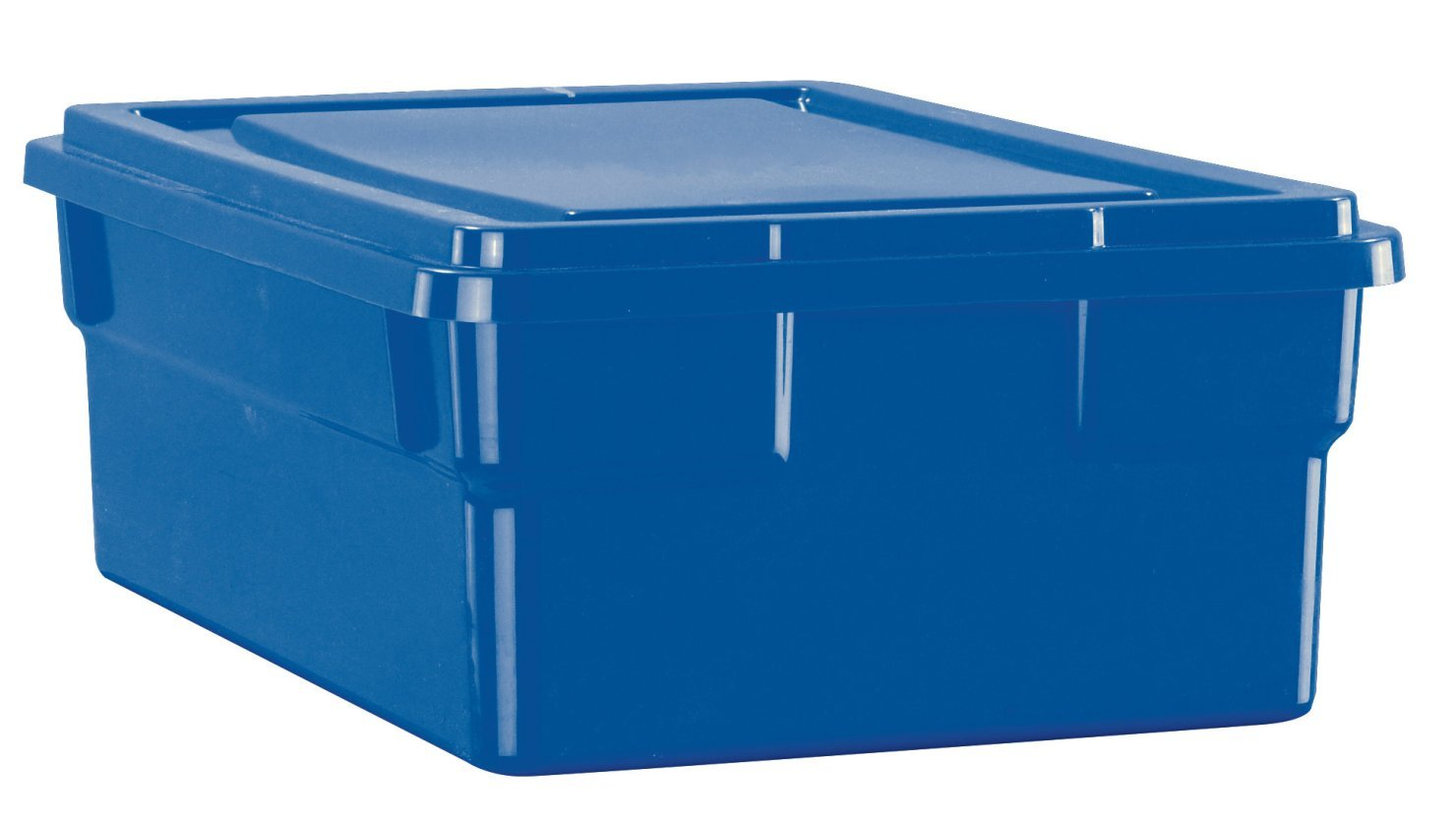 School Smart Storage Box with Lid, 11 x 6 x 16 Inches, Blue School Specialty 276841