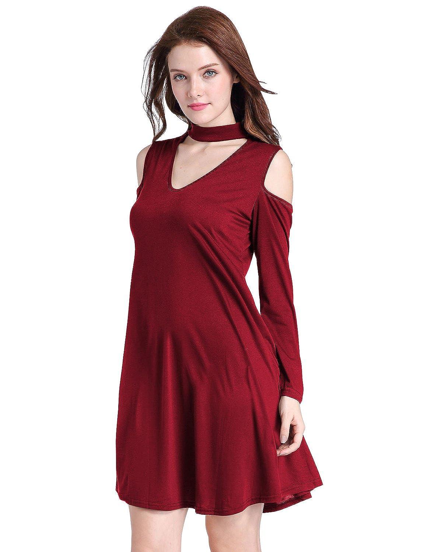 d43b8904ff 50% de descuento MODETREND Mujer Casual Vestidos Loose de Mangas Larga Off  Shoulder Cuello Hálter