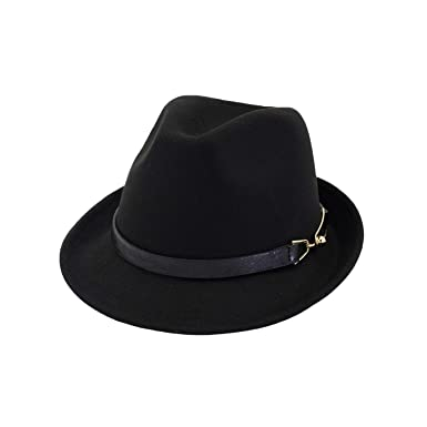 d8916234498 Amazon.com: Autumn Black Red Fedora Hat Wool Felt Wide Brim Hats Vintage  Church Cap with Belt Ladies Winter Fedoras Women Men: Clothing