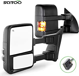 SCITOO Towing Mirrors, fit for Ford Exterior Accessories Mirrors fit for Ford F250 F350 F450 F550 Super Duty 2003-2007 Signal Power Controlling Heated Convex Glass Manual Folding Telescoping (Pair)