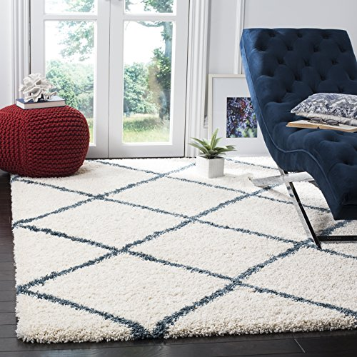 Safavieh Hudson Shag Collection SGH281T Ivory and Slate Blue Moroccan Diamond Trellis Area Rug (5'1 x (Blue White Pattern)