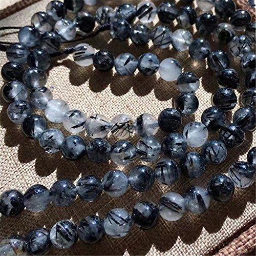 Mimeier 4-12mm Natural Black Quartz Rutilated Round Beads Strand, Grade AAA (077CS) (6mm, 3A)
