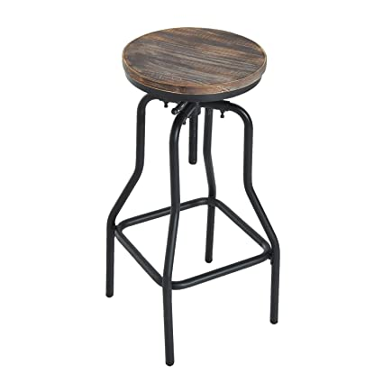 Remarkable Homcom Vintage Industrial Bar Stool Height Adjustable Swivel Chair W Metal Foot And Wood Surface Typeb Andrewgaddart Wooden Chair Designs For Living Room Andrewgaddartcom