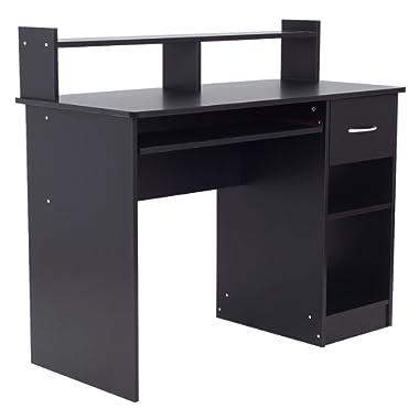 Black Modern Home Office Computer Desk Workstation Keyboard Tray Drawer 2 Storage Shelves Laptop Notebook PC Studying Reading Writing Versatile Multipurpose Table Space Saving Design