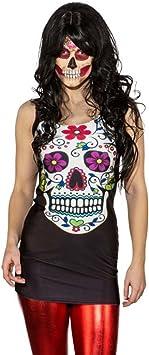 Amakando Minivestido Día de los Muertos Vestido Sexy Sugar Skull L ...