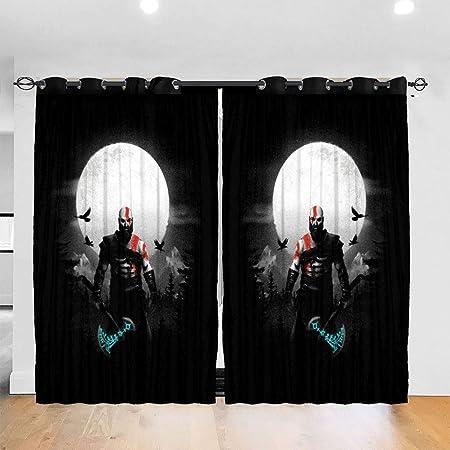 HONGYANW Hongyang Cortinas Opacas Personalizadas con Ojales para Ventana de God of War Kratos Moon con Aislamiento térmico para recámara, Sala de Estar, 52 x 72 Pulgadas, 2 Paneles: Amazon.es: Hogar