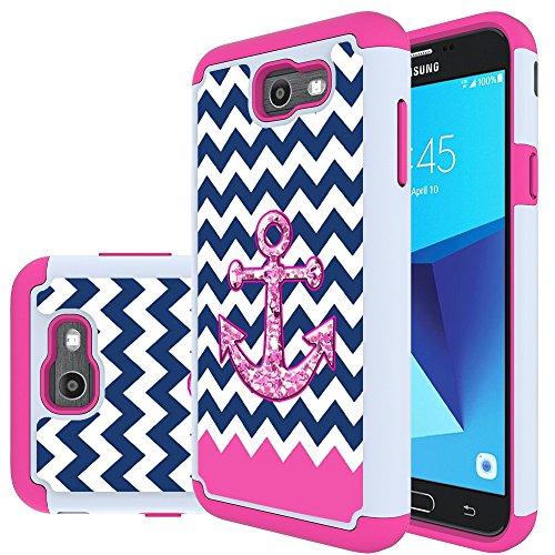 Galaxy J7 V Case, Galaxy J7 2017 Case, Galaxy J7 Sky Pro Case, Galaxy J7 Perx Case, MicroP Hybrid Dual Layer Silicone Plastic Armor Defender Case for Samsung Galaxy J7V 2017 (Armor Pink Anchor)