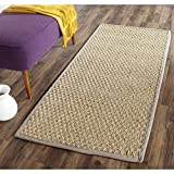 Safavieh Natural Fiber Collection NF114P Basketweave Natural and Grey Summer Seagrass Runner (2'6'' x 16')