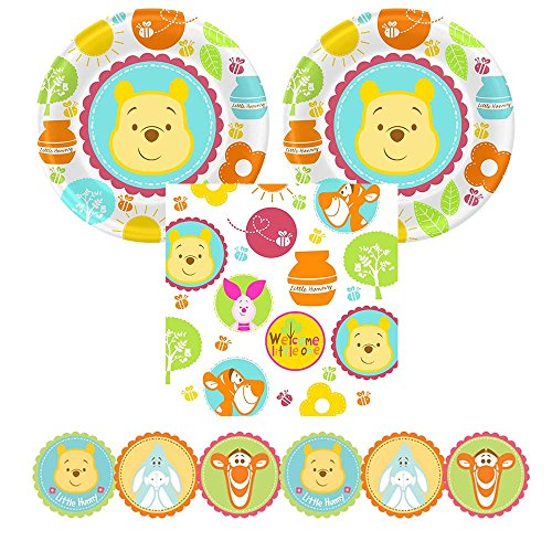 'Little Hunny' Baby Shower party supplies, 16 guests, plates, napkins, garland (Winnie Pooh Hunny)