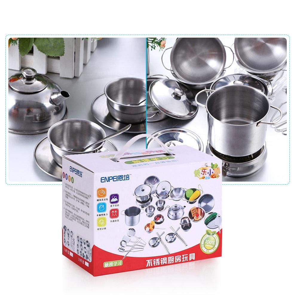 Juguete de acero inoxidable, juego de imaginación, juego de cocina, ollas y sartenes para alimentos y juego de fiesta de té para niños: Amazon.es: Bebé